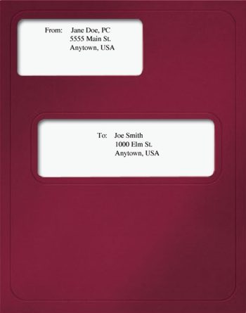 CCH Prosystem Tax Folders with Windows in Burgundy Red - DiscountTaxForms.com