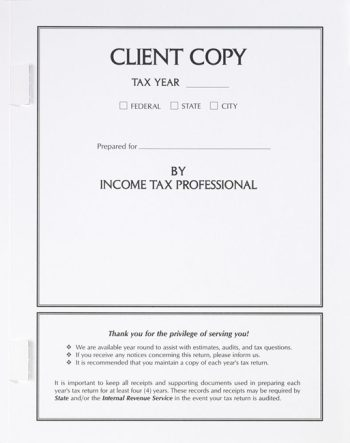 Client Copy Tax Folder with Side Staple Tabs at More at Deep Discounts SCW01 - Discount Tax Forms