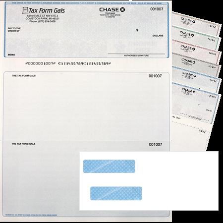 Preprinted Logo Checks QuickBooks w-envelope - Discount Tax