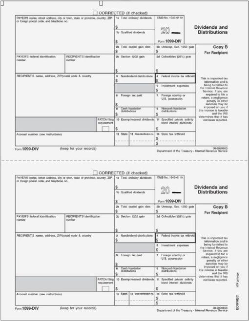 1099DIV Forms, Copy B for Recipient - DiscountTaxForms.com