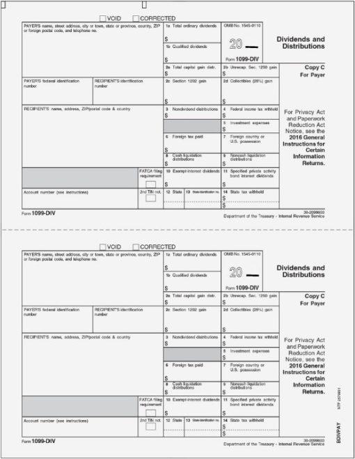 1099DIV Form, Copy C for Payer Files - DiscountTaxForms.com