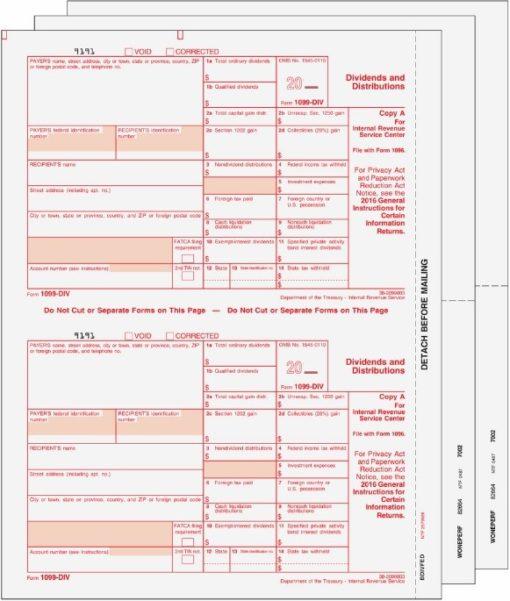 1099DIV Forms Set 3pt for Official Federal and Recipient Filing - DiscountTaxForms.com