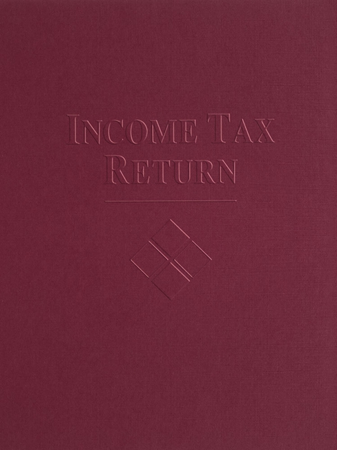 Tax Folder Embossed with Income Tax Return and Design for Accountants and CPAs, Black FBU55 - Discount Tax Forms
