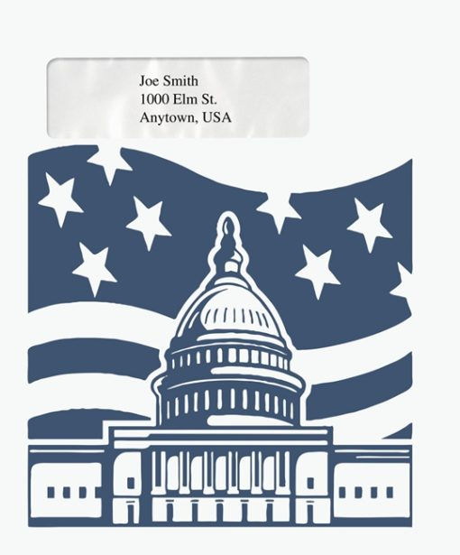 Patriotic Tax Envelope with Window for easy, official mailing PEB28 - Discount Tax Forms