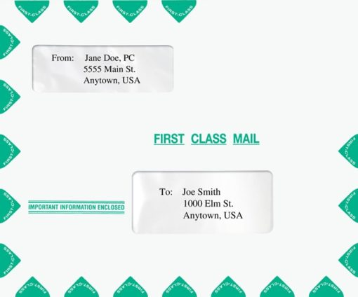 Large First Class Mail Envelope 9.5 x 11.5 with 2 Windows V2 Lanscape format PEN14 - Discount Tax Forms