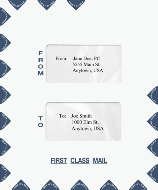 First Class Mail Envelope, Portrait Style with 2 Windows in the Center Blue PEO15 - Discount Tax Forms
