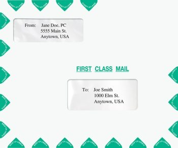 First Class Envelope Landscape Style with 2 Windows, Green PEP16 - Discount Tax Forms