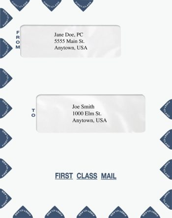 First Class Mail Envelope Blue Double Alternate Windows 9.5 x 12 PEQ43 - DIscount Tax Forms
