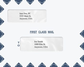 First Class Mail Envelopes Landscape Double Window Blue PER44 PEY51 - Discount Tax Forms