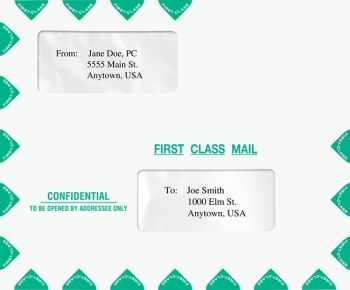 First Class Envelope 9.5 x 11.5 for Mailing Tax Returns. Landscape style with 2 windows, compatible with Drake software - DiscountTaxForms.com