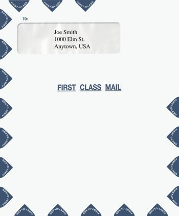 "First Class Mail Envelope 9.5 x 11.5"" with Single Window PEW23 PEC29 - Discount Tax Forms"