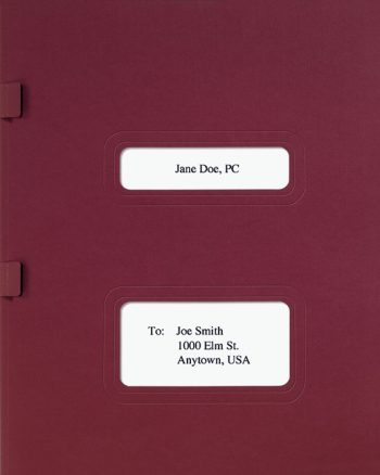 Drake, TaxWise and TaxWorks Software Folder with Windows for Cover Sheets and Side Staple Tabs in Burgundy - DiscountTaxForms.com