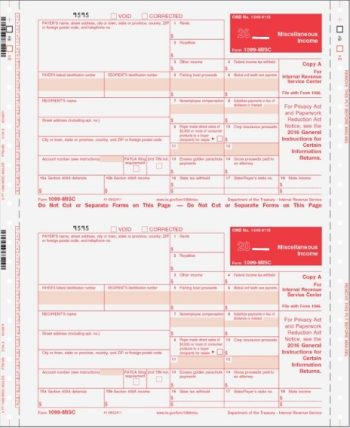 1099MISC Forms Carbonless Continuous 3part Self Mailer - DiscountTaxForms.com