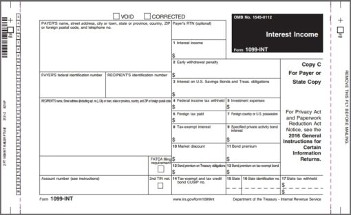 1099INT Carbonless Mag Media Mailer Non Dated 1099INT forms - Discount Tax Forms