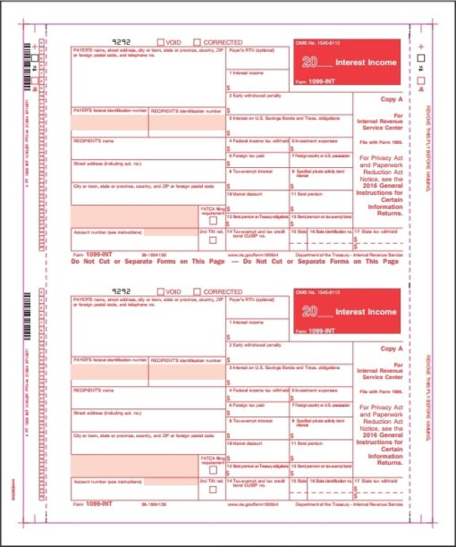 1099INT Carbonless Self Mailer Forms - DiscountTaxForms.com