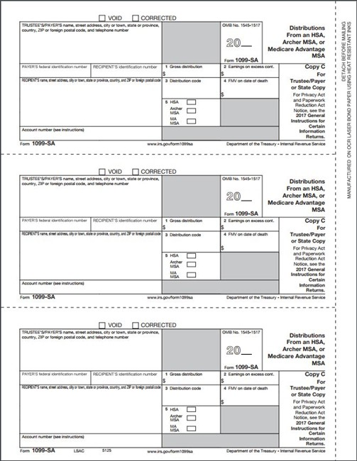 1099SA Form, Copy C for trustee, payer or state - DiscountTaxForms.com