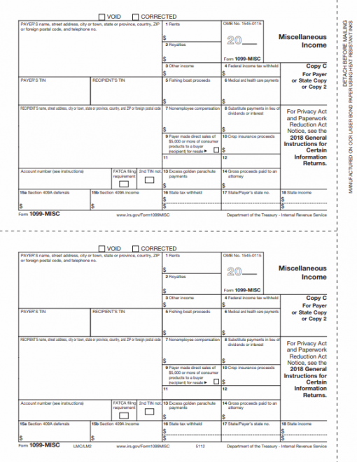 1099MISC Forms Copy C/2 for Payer or State - DiscountTaxForms.com