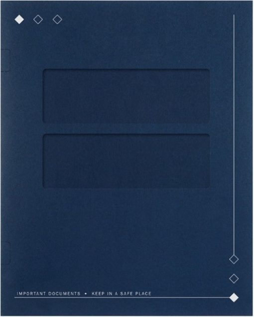 40BL Diamond Design Tax Folder with Side Staples Blue - DiscountTaxForms.com