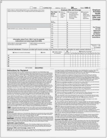 ACA Form 1095C Half Page with Instructions - Discount Tax Forms
