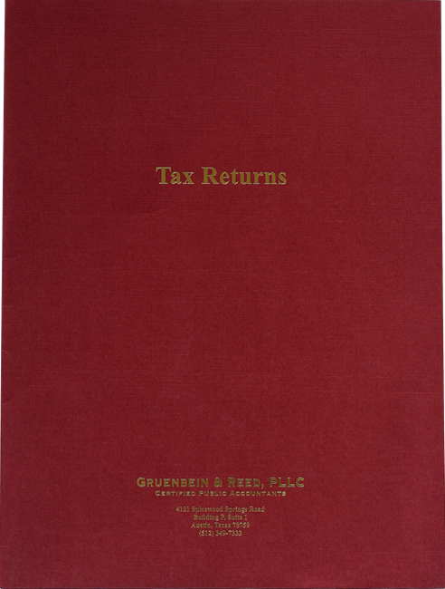 Custom Tax Return Folders with Foil Stamping in Many Colors and Styles at Low Prices - DiscountTaxForms.com
