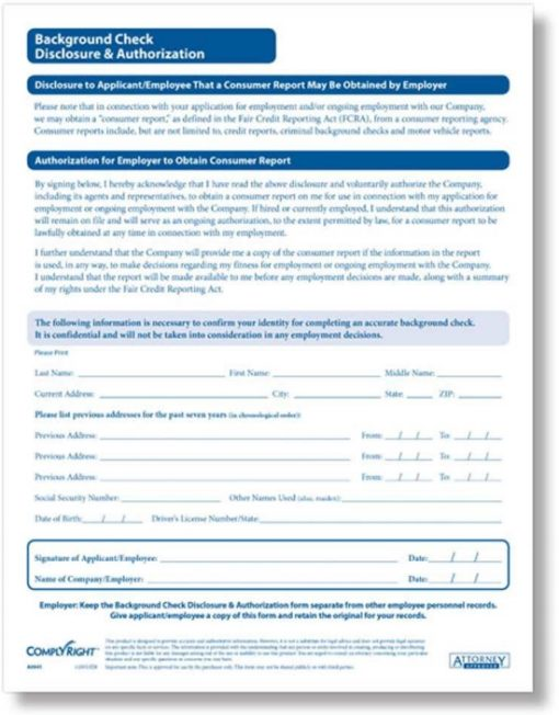 Background check forms from ComplyRight - Discount Tax Forms