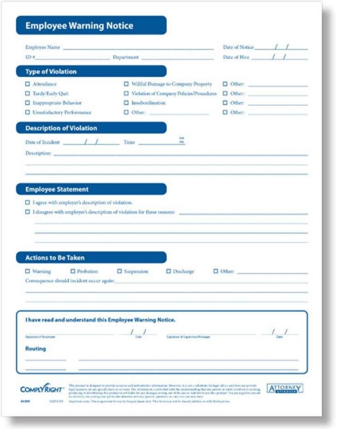 Employee Warning Notice Write Up Forms from ComplyRight - Discount Tax Forms