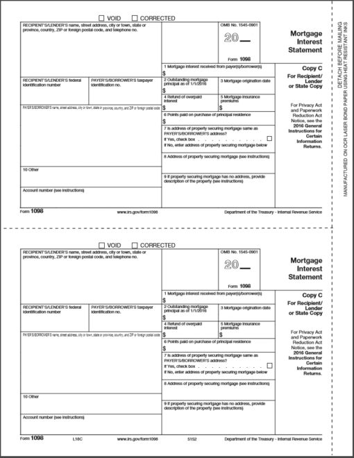 1098 Forms Copy C for Recipient, Lender or State Copy - DiscountTaxForms.comm