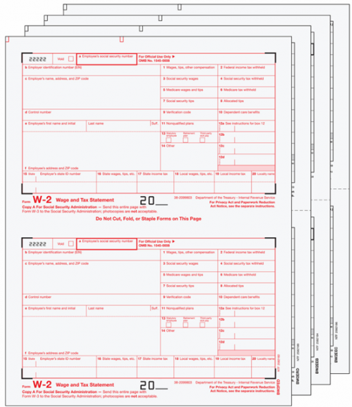W2 Forms Set with Official Preprinted W-2 Forms - DiscountTaxForms.com